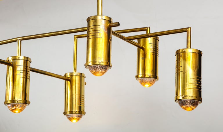 Large Mid-Century Modern Brass Chandelier, circa 1970, Italy For Sale 6