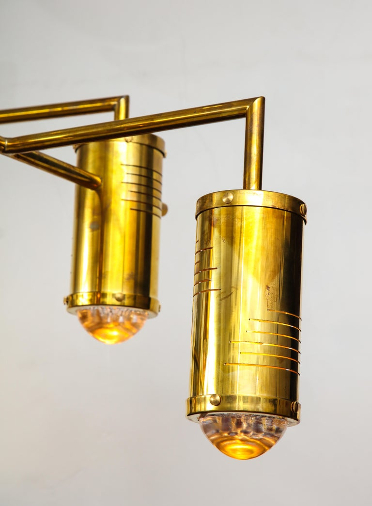 Large Mid-Century Modern Brass Chandelier, circa 1970, Italy For Sale 7