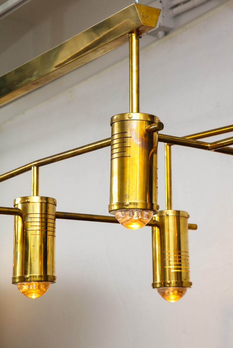 Large Mid-Century Modern Brass Chandelier, circa 1970, Italy For Sale 8