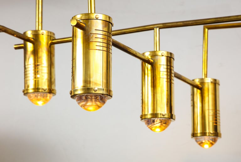 Italian Large Mid-Century Modern Brass Chandelier, circa 1970, Italy For Sale