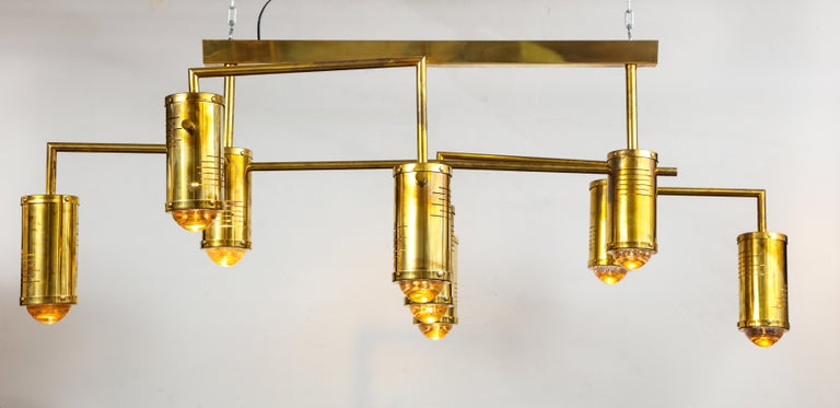 Large Mid-Century Modern Brass Chandelier, circa 1970, Italy For Sale 2
