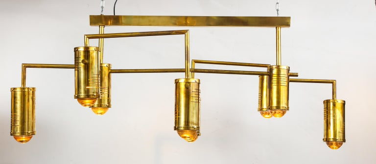 Large Mid-Century Modern Brass Chandelier, circa 1970, Italy For Sale 3