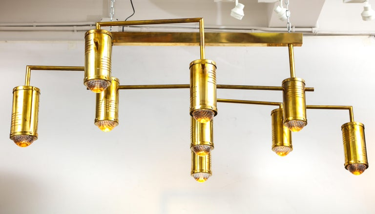 Large Mid-Century Modern Brass Chandelier, circa 1970, Italy For Sale 4