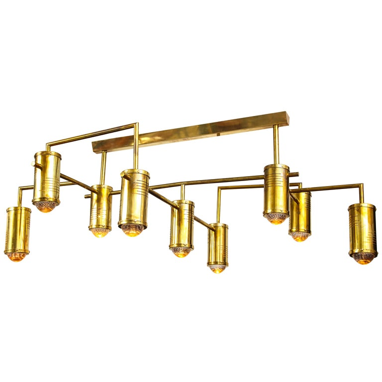 Large Mid-Century Modern Brass Chandelier, circa 1970, Italy For Sale