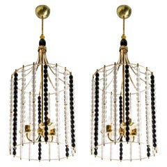 Large Mid-Century Modern Brass Chandeliers with Murano Glass Barbini Style, Pair