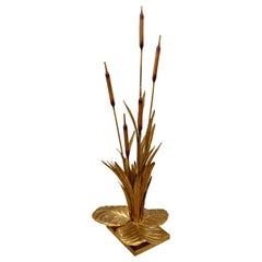 Large Mid-Century Modern Brass Rush Leaf Table Lamp by Maison Jansen France 1960
