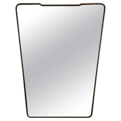 Large Mid-Century Modern Brass Wall Mirror Gio Ponti Style, Italy, 1949