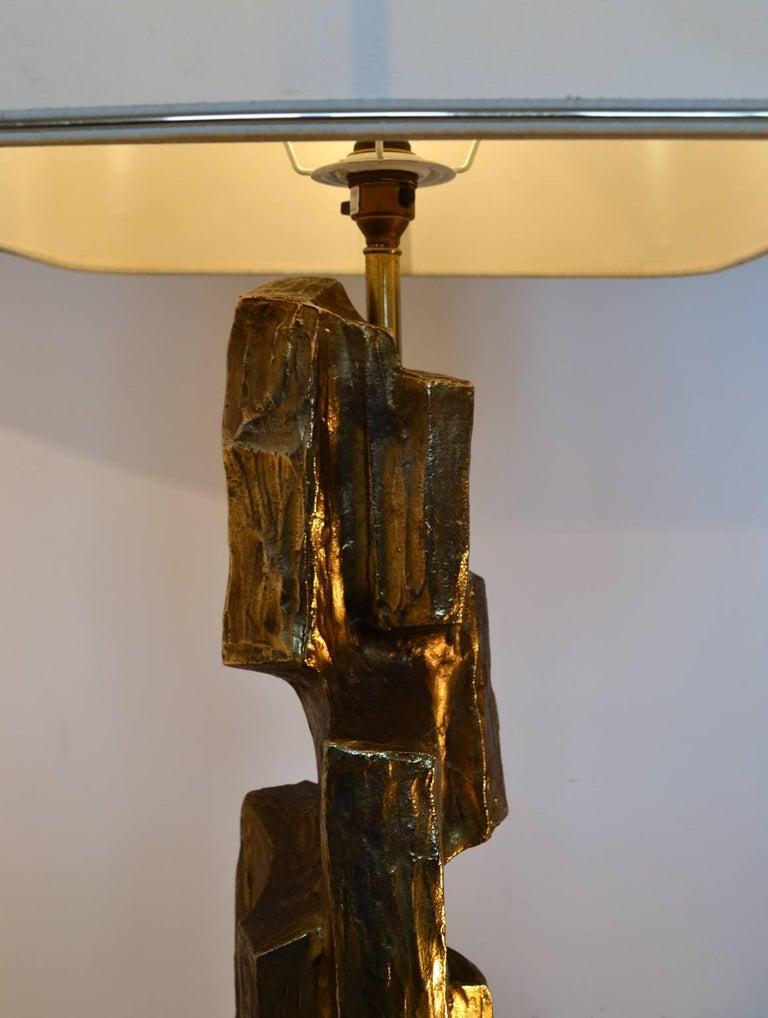 Metal Large Mid-Century Modern Brutalist Sculptural Table Lamp For Sale