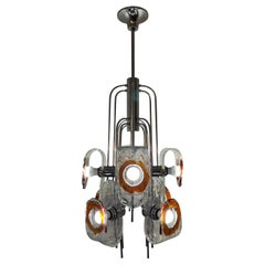 Large Mid-Century Modern Chandelier by Mazzega, Murano Glass, Italy circa 1970