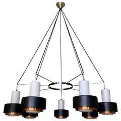 Large Mid-Century Modern Chandeliers with White Glass, Black and Copper Shades