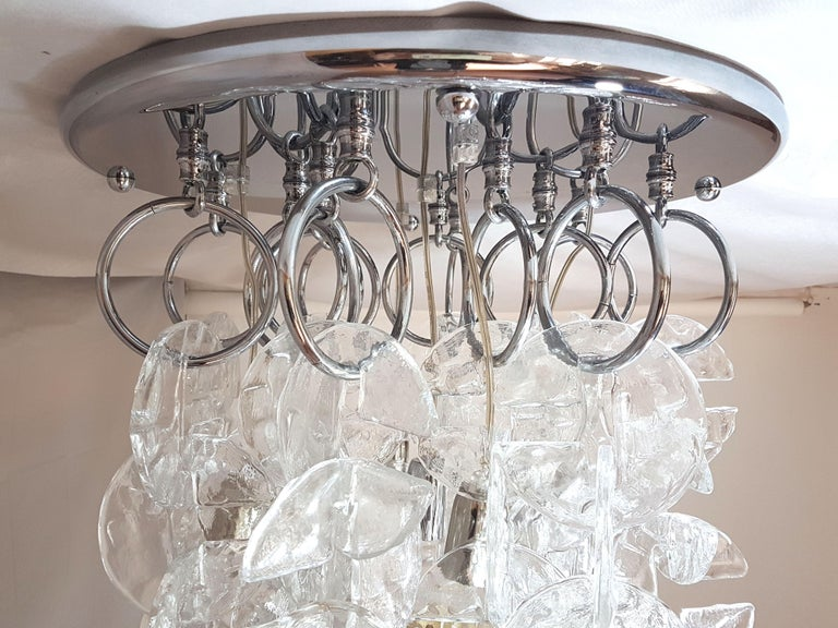 Large Mid-Century Modern Chrome and Murano Glass Chandelier by Mazzega, 1970s For Sale 6