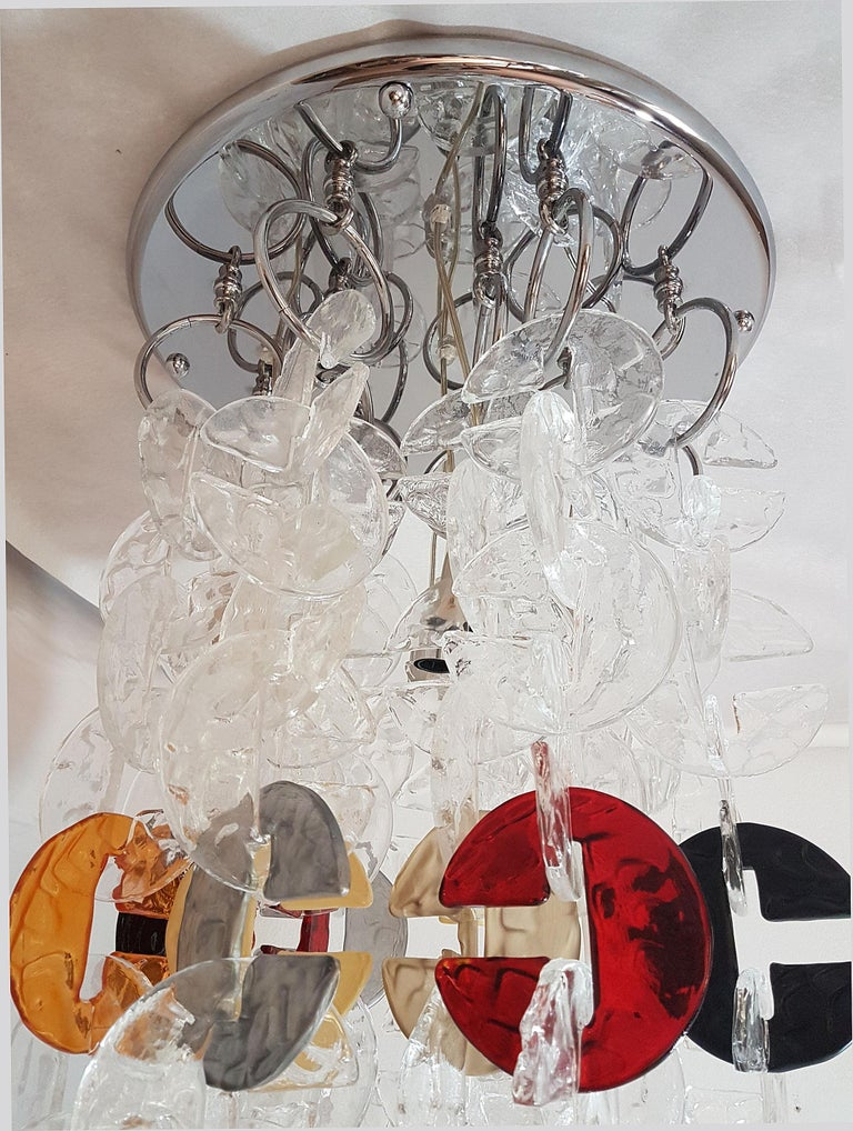 Late 20th Century Large Mid-Century Modern Chrome and Murano Glass Chandelier by Mazzega, 1970s For Sale