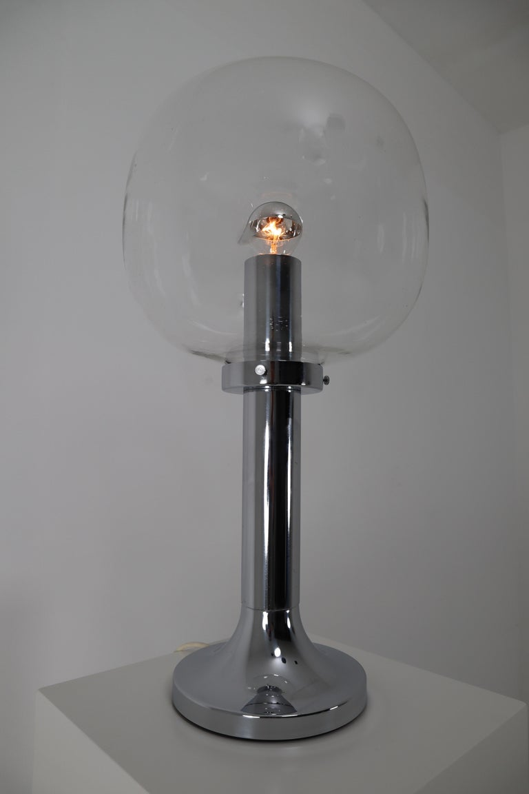 Large Mid-Century Modern Chrome Table Lamp with Hand Blown Globe, Germany, 1960s For Sale 2
