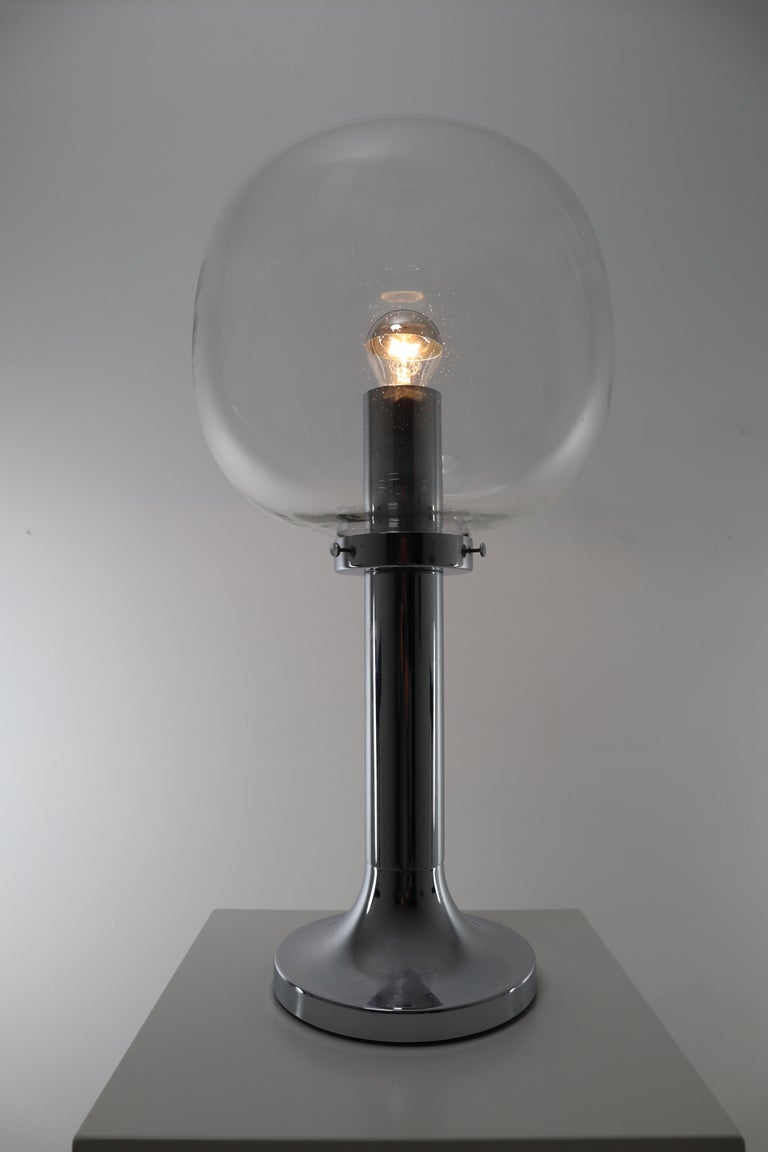 Large Mid-Century Modern Chrome Table Lamp with Hand Blown Globe, Germany, 1960s For Sale 3