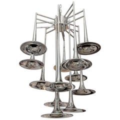Large Mid-Century Modern Chrome Trumpet Chandelier by Reggiani, Italy, 1970s