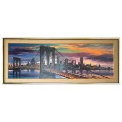 Large Mid-Century Modern Cityscape Modern Bridge Sunset Dusk Painting Framed