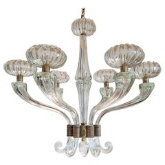 Large Mid-Century Modern Clear Murano Glass Chandelier, Barovier Style, 1960s