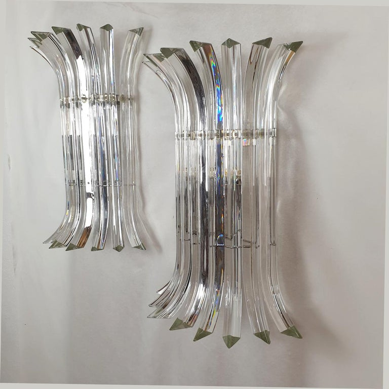 Italian Large Mid-Century Modern Clear Triedri Murano Glass Sconces, by Venini, Italy For Sale