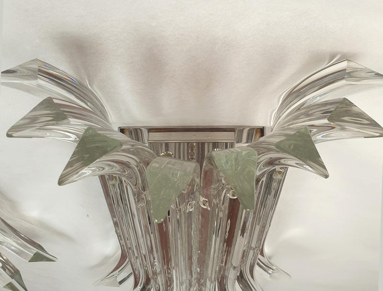 Large Mid-Century Modern Clear Triedri Murano Glass Sconces, by Venini, Italy For Sale 2