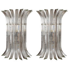 Large Mid-Century Modern Clear Triedri Murano Glass Sconces, by Venini, Italy