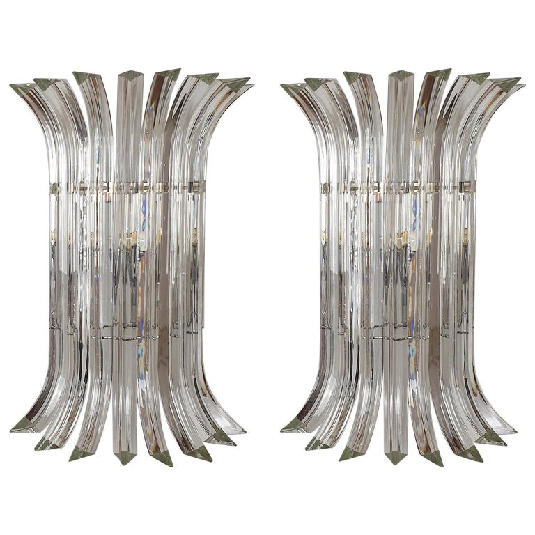 Large Mid-Century Modern Clear Triedri Murano Glass Sconces, by Venini, Italy For Sale