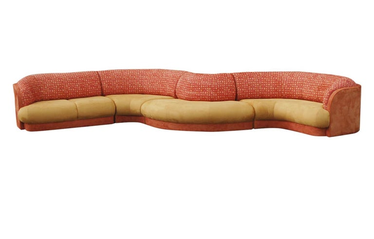 Late 20th Century Large Mid-Century Modern Curved Serpentine Sectional Sofa For Sale