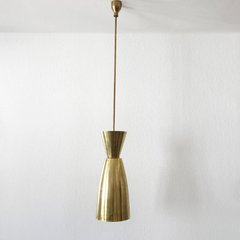 Mid-20th Century Large Mid-Century Modern Diabolo Brass Pendant Lamp, 1950s, Germany For Sale