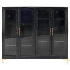 Large Mid-Century Modern Ebonized and Cerused Walnut Four Doors Bookcase