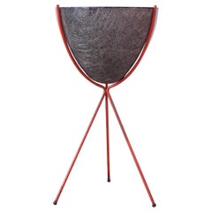 Large Mid-Century Modern Fiberglass and Painted Iron Tripod Planter by Kimball
