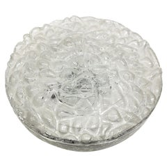 Large Mid-Century Modern Flush Mount in Organic Bubble Pattern Glass by Doria