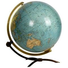 Large Mid-Century Modern Glass Globe Illuminated in Futuristic Streamline Design