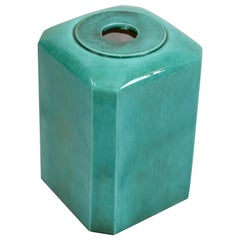 Large Mid-Century Modern Glazed Ceramic Box, Cover, Planter in Emerald Green