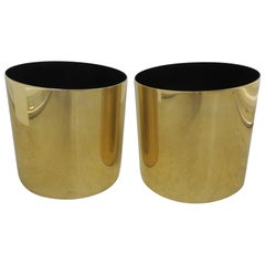 Large Mid-Century Modern Gold Color Round Planters