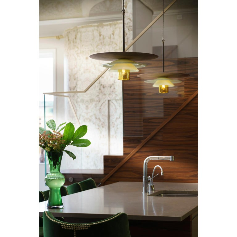 Contemporary Large Mid-Century Modern Hand Blown Sculptural Glass and Walnut Pendant For Sale