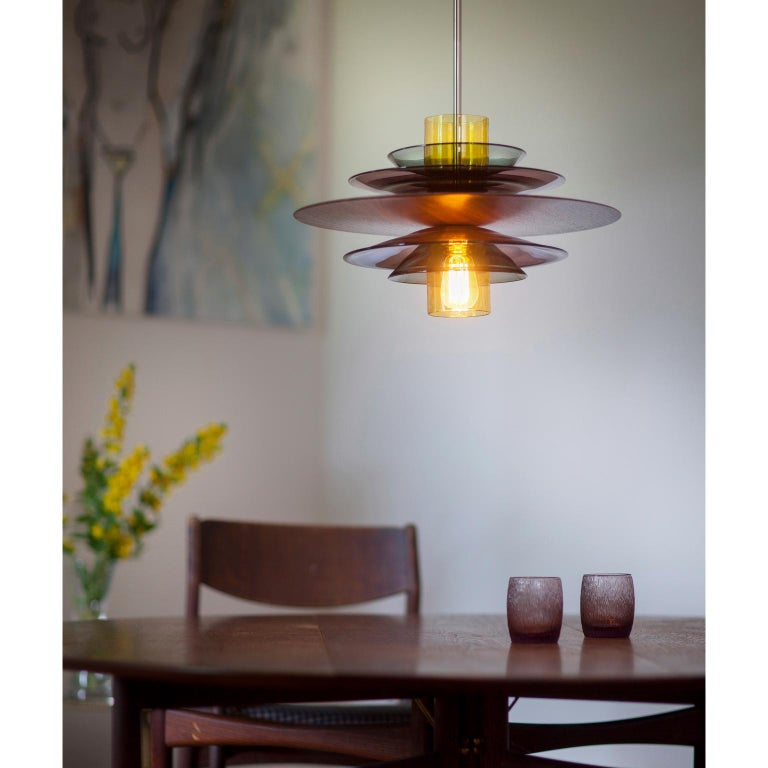 Large Mid-Century Modern Hand Blown Sculptural Glass and Walnut Pendant For Sale 1
