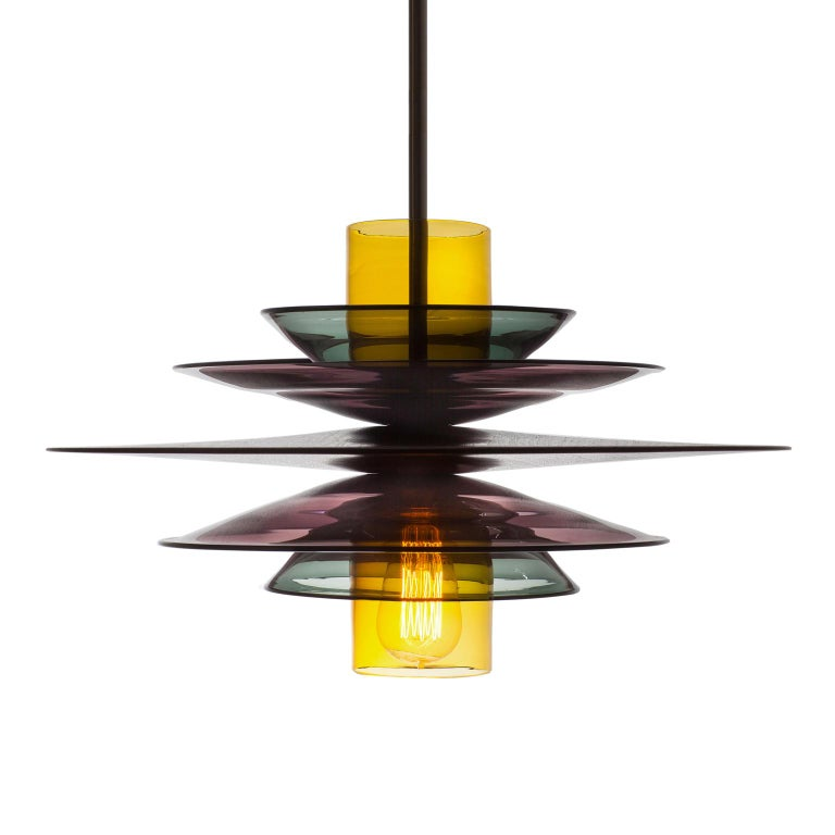 Large Mid-Century Modern Hand Blown Sculptural Glass and Walnut Pendant For Sale 2