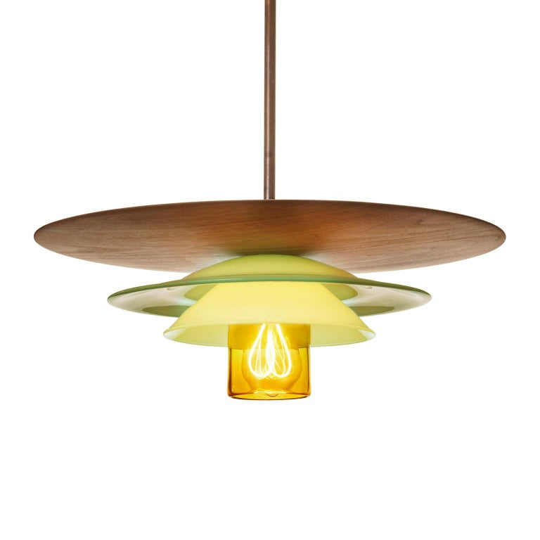 Large Mid-Century Modern Hand Blown Sculptural Glass and Walnut Pendant For Sale