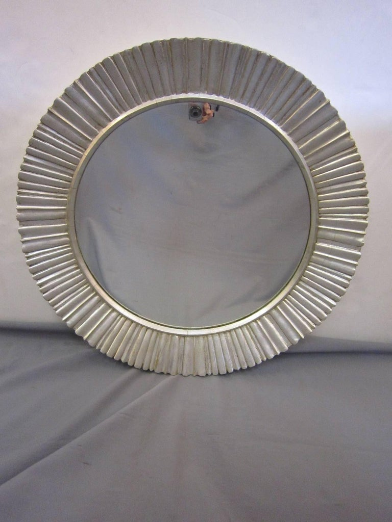 Large Mid-Century Modern Hand Carved and Silver Leaf Soleil /Sunburst Mirror For Sale 6