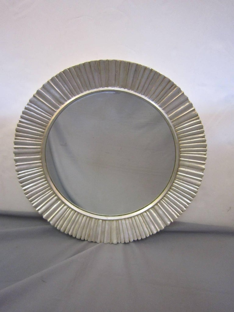 French Large Mid-Century Modern Hand Carved and Silver Leaf Soleil /Sunburst Mirror For Sale