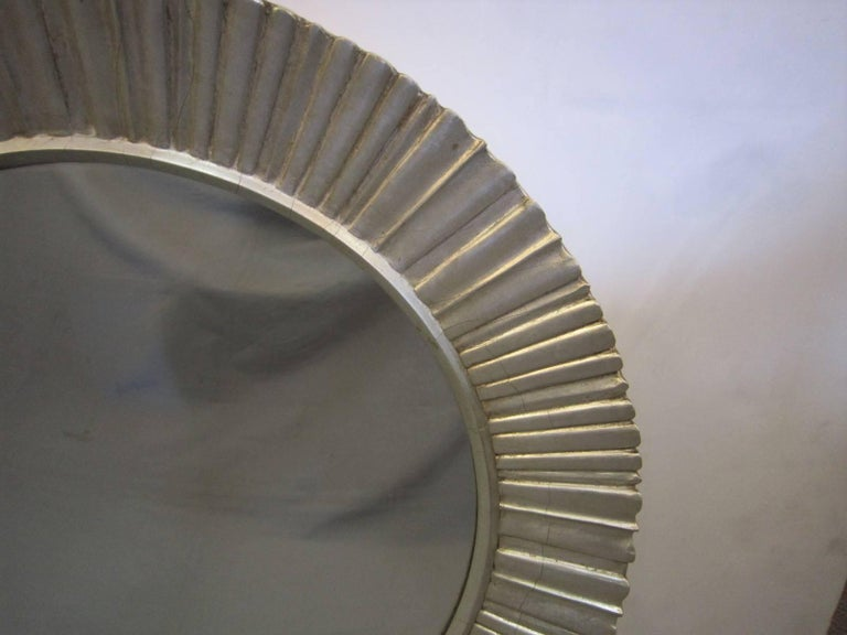 Large Mid-Century Modern Hand Carved and Silver Leaf Soleil /Sunburst Mirror In Good Condition For Sale In New York City, NY