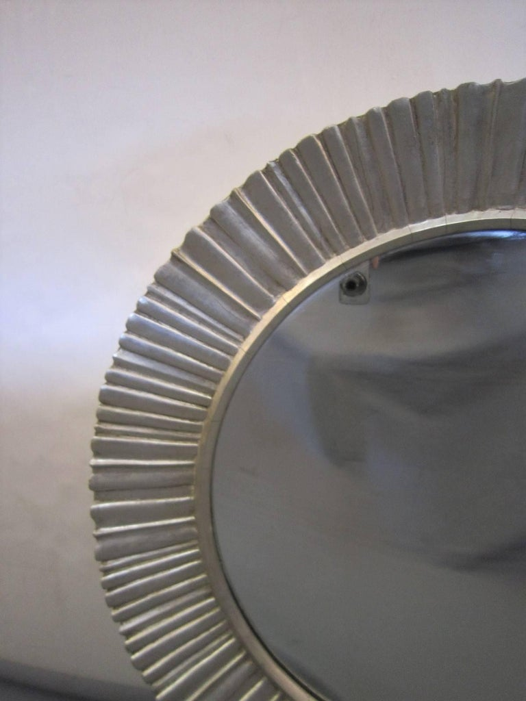 Large Mid-Century Modern Hand Carved and Silver Leaf Soleil /Sunburst Mirror For Sale 1