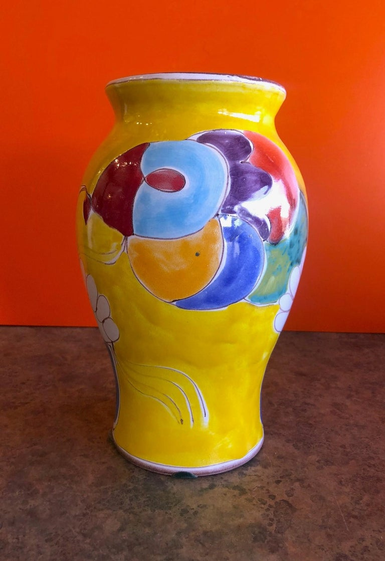 Hand-Painted Large Mid-Century Modern Hand Painted Vase by Giovanni Desimone For Sale