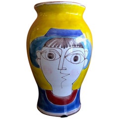 Large Mid-Century Modern Hand Painted Vase by Giovanni Desimone
