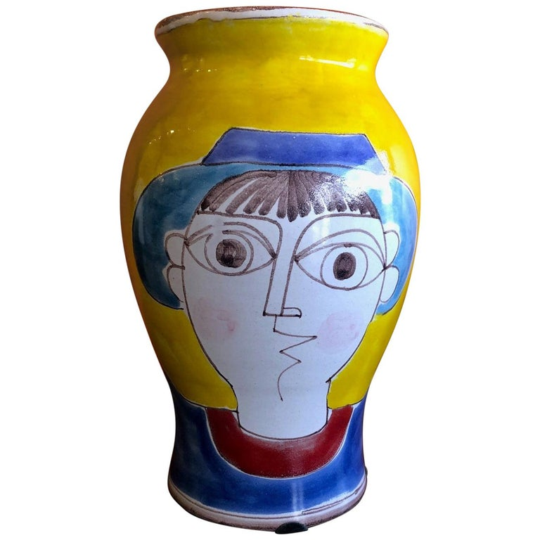 Large Mid-Century Modern Hand Painted Vase by Giovanni Desimone For Sale