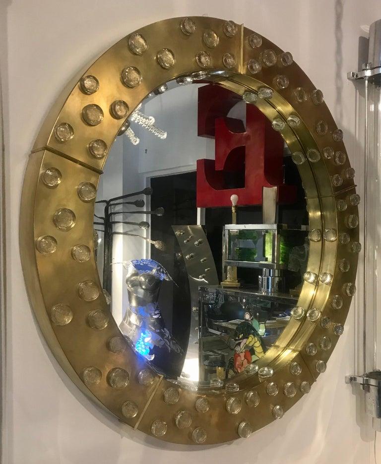 Large Mid-Century Modern Italian Brass and Blown Murano Glass Circular Mirror For Sale 6
