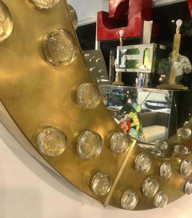Large Mid-Century Modern Italian Brass and Blown Murano Glass Circular Mirror For Sale 7