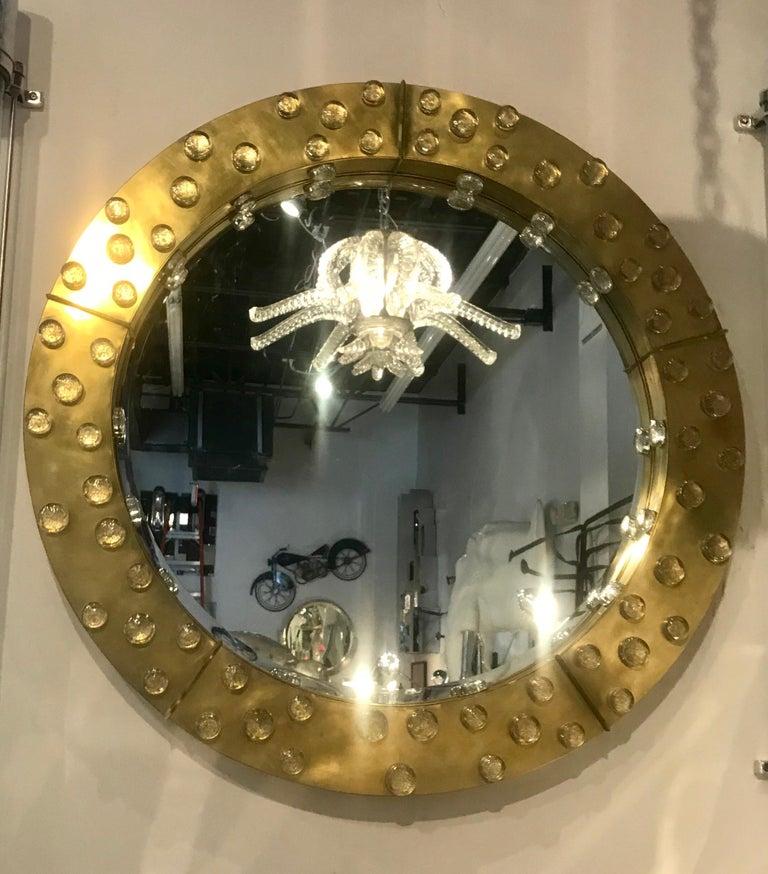 20th Century Large Mid-Century Modern Italian Brass and Blown Murano Glass Circular Mirror For Sale