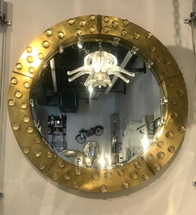 Large Mid-Century Modern Italian Brass and Blown Murano Glass Circular Mirror For Sale 1