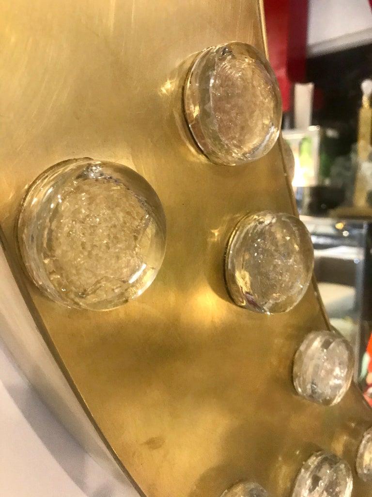 Large Mid-Century Modern Italian Brass and Blown Murano Glass Circular Mirror For Sale 2