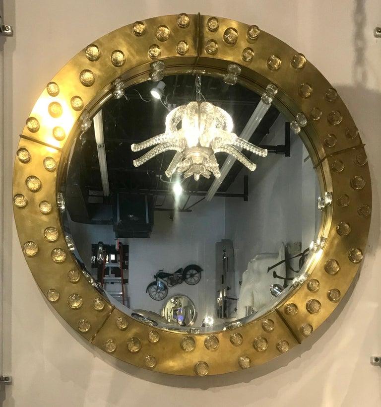 Large Mid-Century Modern Italian Brass and Blown Murano Glass Circular Mirror For Sale 3